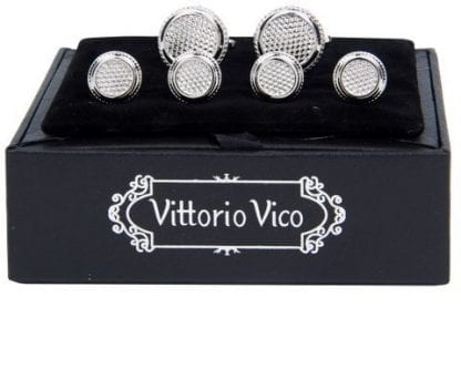 Diamond Pattern Silver Cuff Links and Studs Set by Vittorio Vico