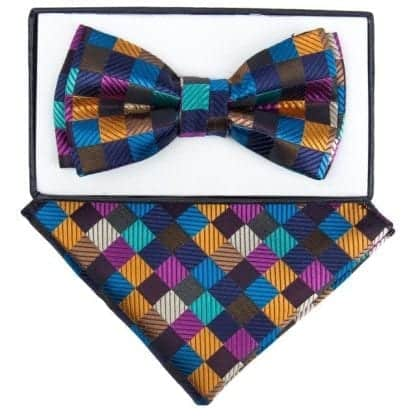 Boys Multi Color Checkered Pattern Bowtie and pocket square