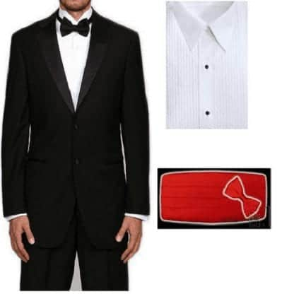 Mens Slim fit tuxedo package with any color cummerbund and bowtie – Prom- Wedding