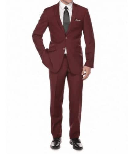 Slim Fit Burgundy Suit Notch Lapel in Wine Burgundy Color- Prom-Homecoming