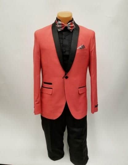 Coral with Black Shawl Lapel One Button Tuxedo- Prom 2019 – Wedding