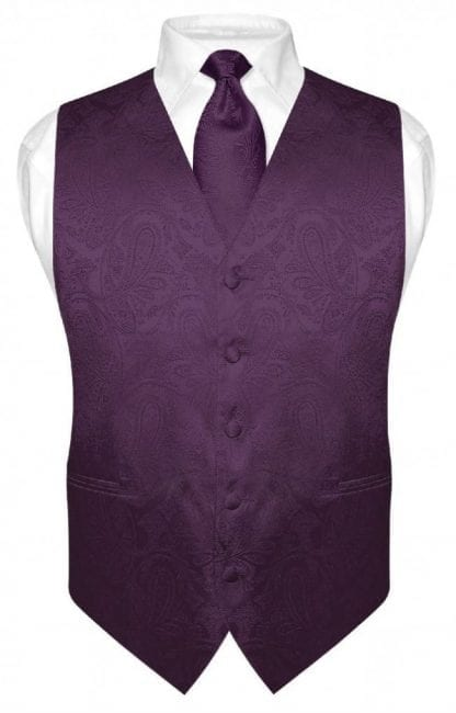 Mens Paisley Tone On Tone Vest with Tie Set All Colors-Wedding- Prom -Holiday