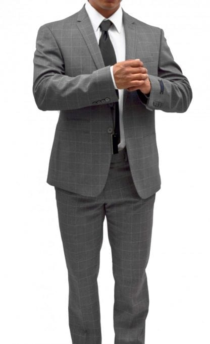 Mens Plaid Windowpane Modern Fit Suit Notch Lapel Light Gray Modern-Fit by Andrew Fezza