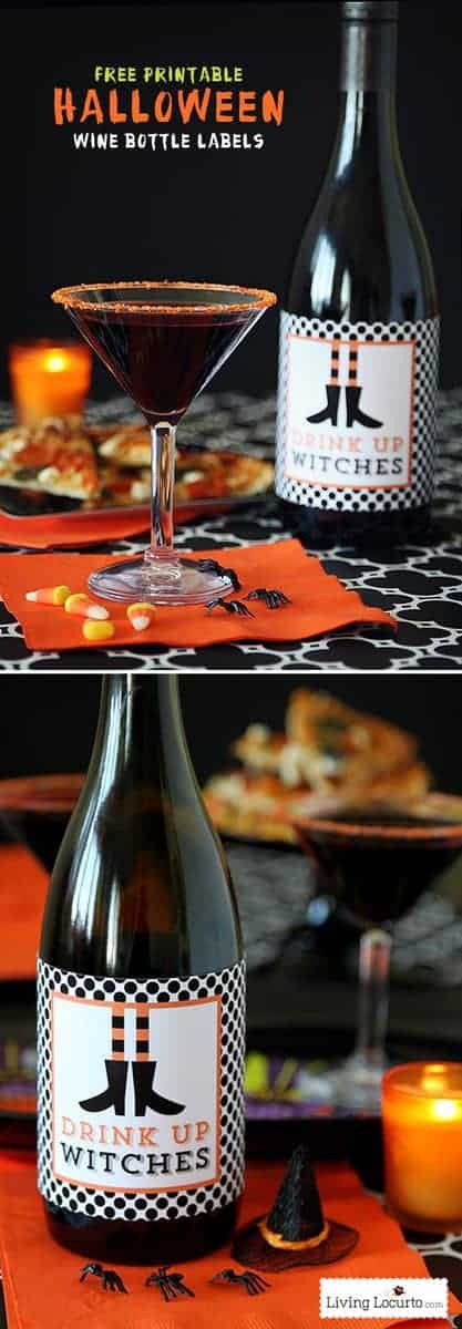 Drink Up Witches Wine Labels - Witch Halloween Party ideas - Free Printables