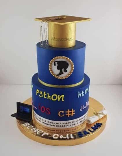 Developer Cake with Gold Cap, graduation cake design