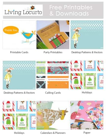 Great Resource for Free Printables & Downloads    LivingLocurto.com   Free Party Printables   Holiday
