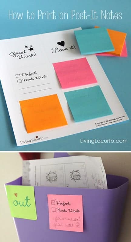 Print on Post-It Notes! – Free Printables for School Homework by Livinglocurto.com