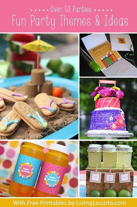 Over 50 Party Themes & Fun DIY Ideas {Free Printables} LivingLocurto.com