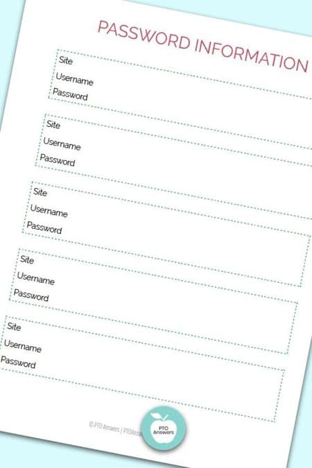 Printable Treasurer Forms including a Password Tracker to manage money and PTO finances