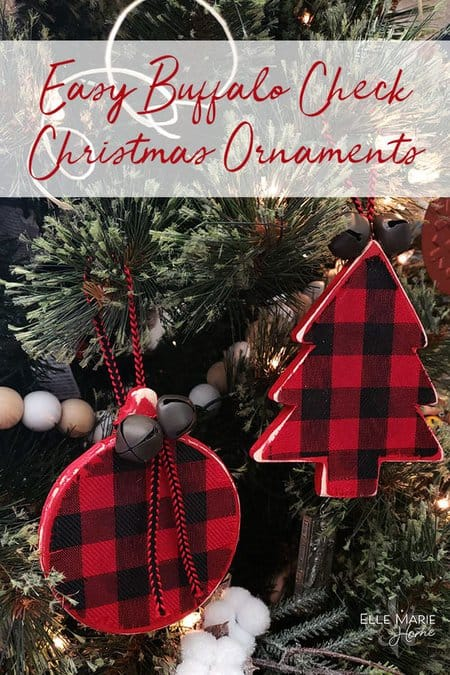 buffalo check ornament hanging on a tree