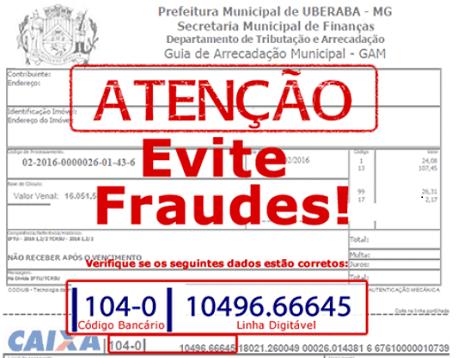 Imagem alerta de fraudes - IPTU Uberaba MG