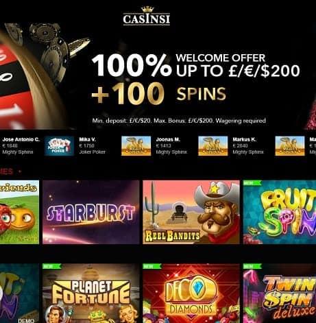 Casinsi Casino free bonus
