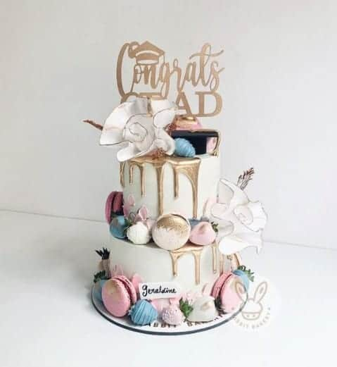 Cream and Gold Macaron Cake