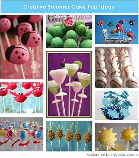 Summer Cake Pops! Cute birthday or pool party desserts. From beach balls and sharks to lady bugs and crabs. 10 cute fun food ideas for cake pops!
