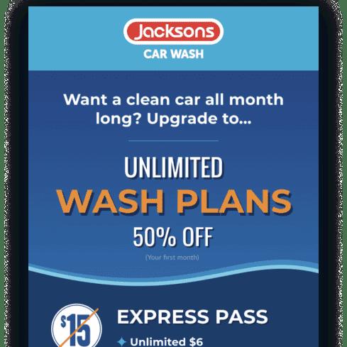 Jacksons Car Wash campaign offer via Thanx