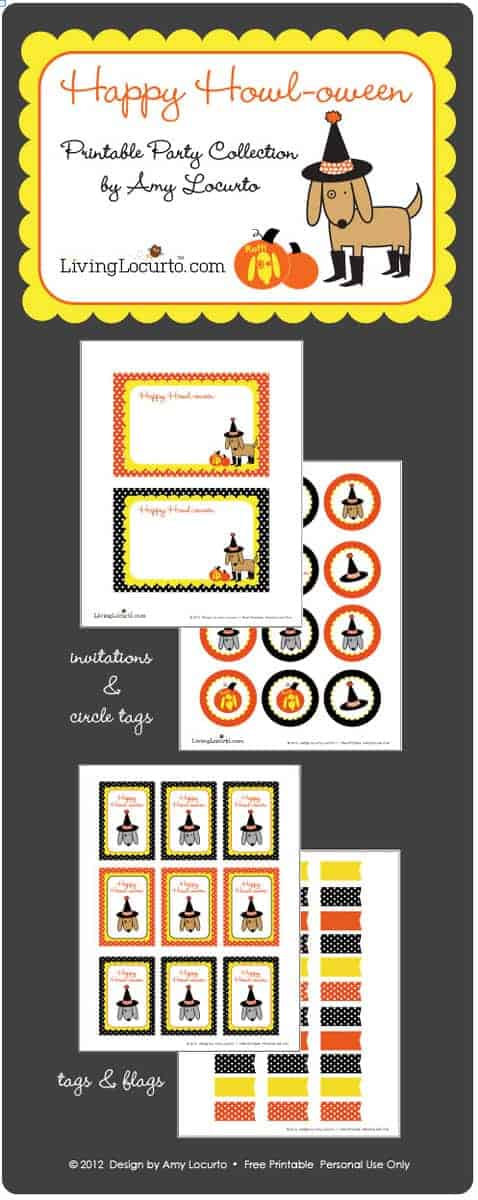Host a puppy party for Halloween with this fun dog themed party printable collection! LivingLocurto.com