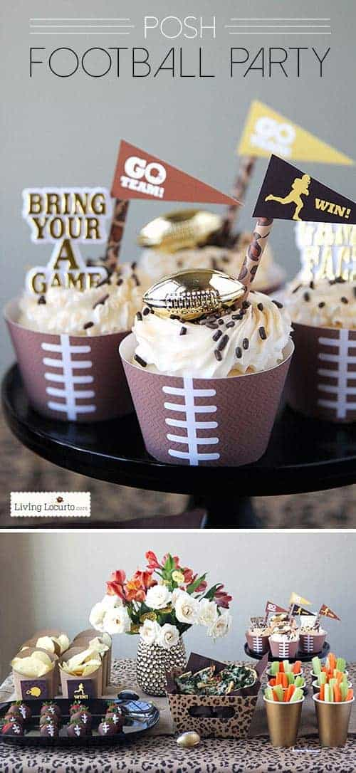 Free Printable Football Cupcake Wrappers. Perfect for any Football Themed birthday, Super Bowl, Fantasy Football Party. LivingLocurto.com