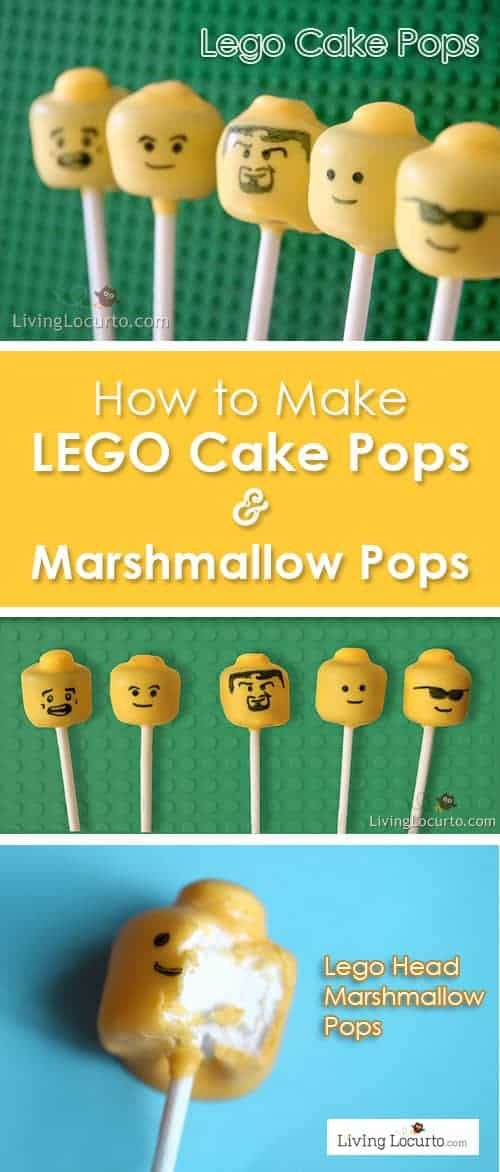 How to make Lego Cake Pops and Lego Marshmallow Pops. Easy fun food recipe ideas for a Lego birthday party. Kids will love these edible minifigures!