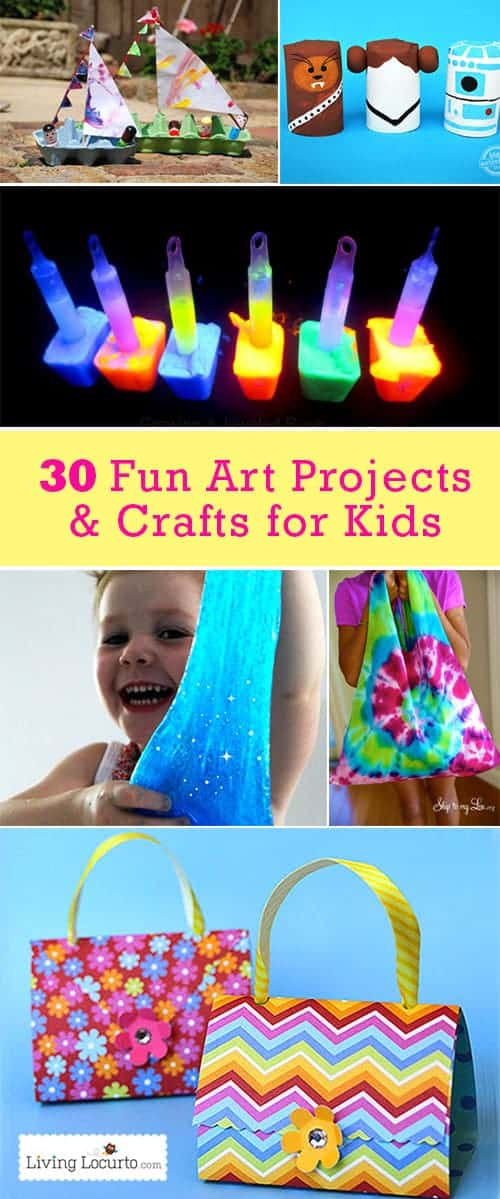 30 Awesome Arts and Crafts for Kids! Great summer activities for kids. These fun and easy kid projects will help fight off summer boredom.