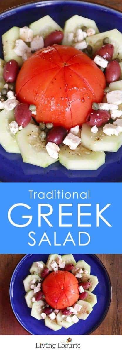 A simple and healthy Traditional Greek Salad recipe similar to what is served in Greece. By @livinglocurto