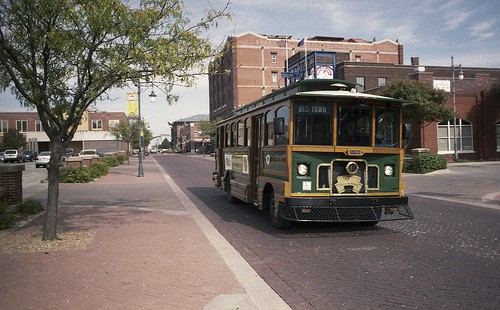 q-line trolley takes you from place to place during wichita final friday art crawl