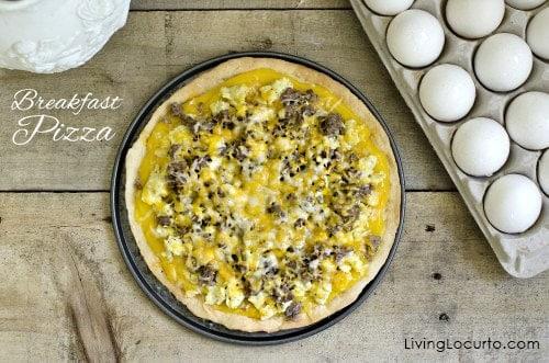 Easy Cheesy Egg Breakfast Pizza Recipe. LivingLocurto.com
