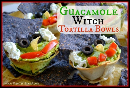 15 Halloween Party Appetizer Recipes - Guacamole Witch Tortilla Bowls