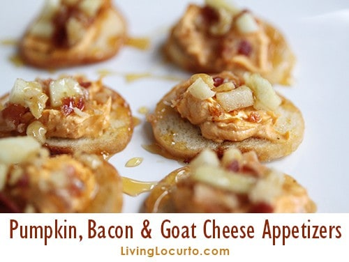 Easy Bacon Goat Cheese Pumpkin Dip Recipe - Delicious Thanksgiving Party Appetizers drizzled with Honey and topped with Apples & Walnuts.