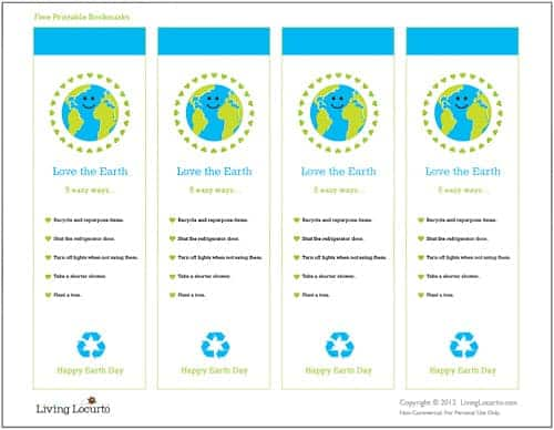 Free printable Earth Day Bookmarks are great gifts to hand out on Earth Day!