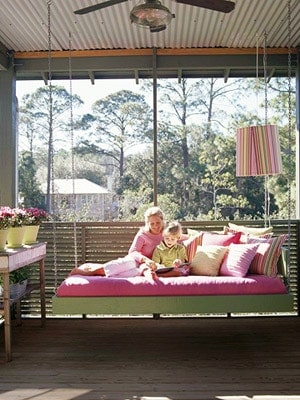 15 Beautiful Hanging Swing Beds - how to build a porch swing bed. Outdoor home decorating ideas.