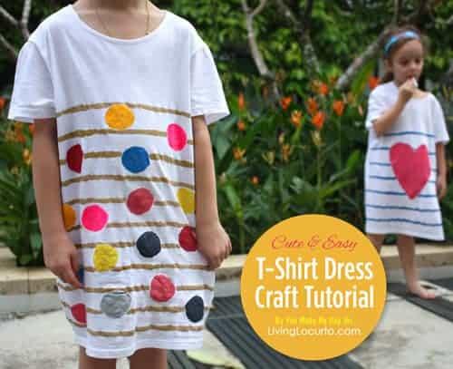 How to make a DIY t-shirt dress! Easy craft tutorial for kids. LivingLocurto.com