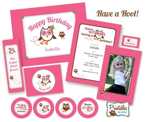 Pink Owl Birthday Party - Printables by Amy at Living Locurto