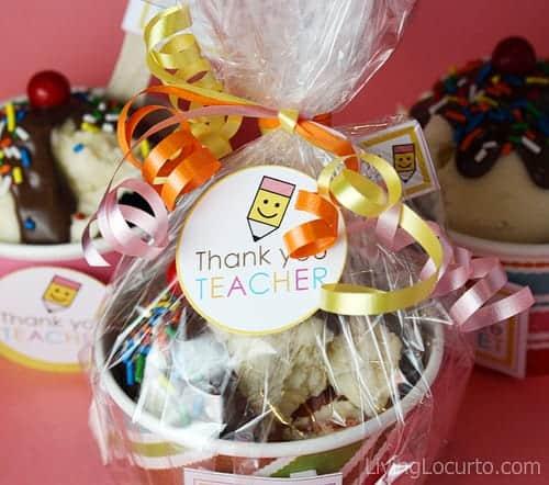 Teacher Appreciation Ice Cream Sundae Cupcakes Recipe - Free Party Printabels