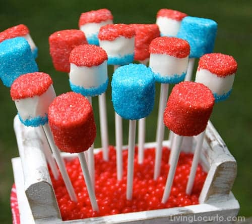 4th of July Marshmallow Pops are a sweet and easy no bake red, white and blue treat to make this summer!Easy party dessert recipe.