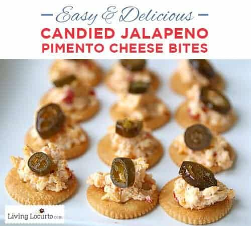 Candied Jalapeño Pimento Cheese Bites. Easy and Delicious Party Appetizer Recipe! LivingLocurto.com