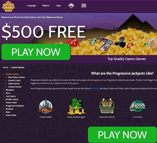 Mummy's Gold free spins bonus