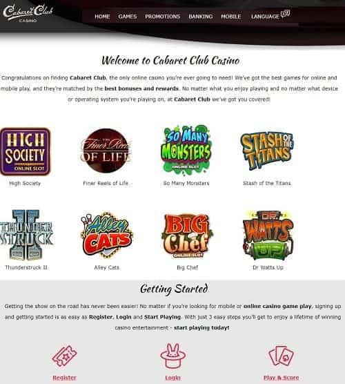 Cabaret Club Online Casino Free Spins Bonus Review
