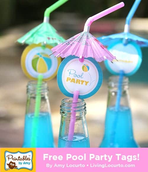 Free Printable Pool Party Tags & Fun Summer Party Ideas! LivingLocurto.com