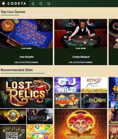 Codeta Casino Review: €300 free bonus on live dealer and jackpot slots