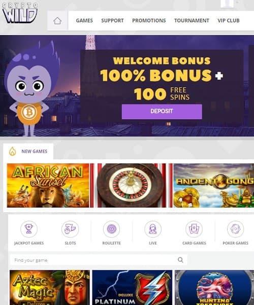 Crypto Wild Casino free spins bonus