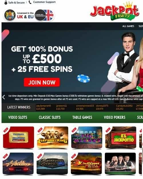 Jackpot Fruity Casino Free Spins