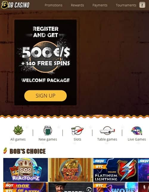 Bob Casino Online Free Spins Bonus
