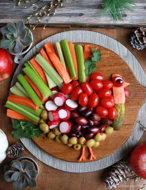 Turkey Vegetable Tray for Thanksgiving Dinner