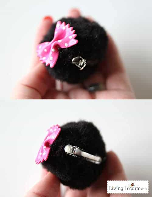 DIY Minnie Mouse Ear Hair Clips. Cute Craft for Kids! LivingLocurto.com