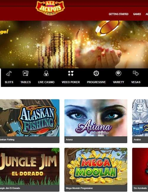 All Jackpots Online Casino free spins bonus