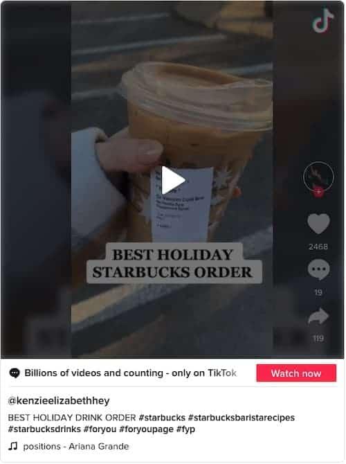 Christmas in July Starbucks drink on TikTok