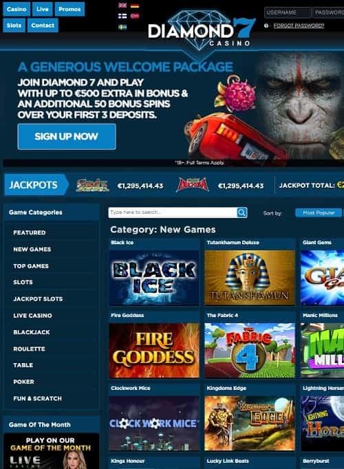 Diamond 7 Casino Review   60 free spins and $/€500 exclusive bonus