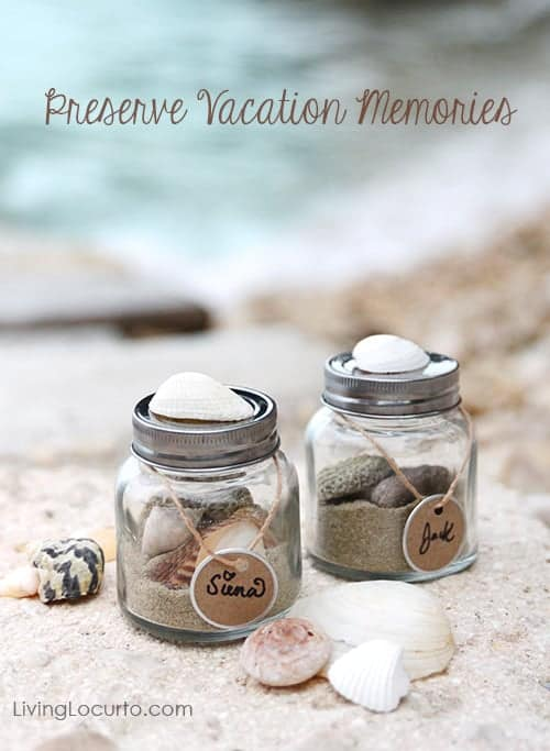 Memory Sand Jars are a fun craft for kids while on family vacation! Make a beach in a jar with sand and shells from your vacation to remember the trip. Such a fun vacation keepsake.