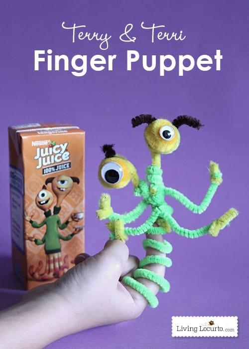 Cute Monster Finger Puppet Crafts for Kids. Juicy Juice & Monsters University Kids Activities Ideas. LivingLocurto.com