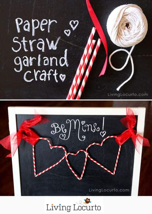 Paper Straw Heart Garland - DIY Home Decoration Ideas for Valentine's Day. Easy to make Home Decor Crafts for Valentine's Day. Homemade Valentines ideas for mantle decorating, party tables, yard art, heart garland, valentine trees, kids rooms and more! LivingLocurto.com